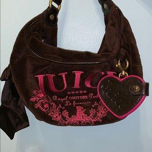 Brown velvet Juicy Couture medium sized purse!!🤩